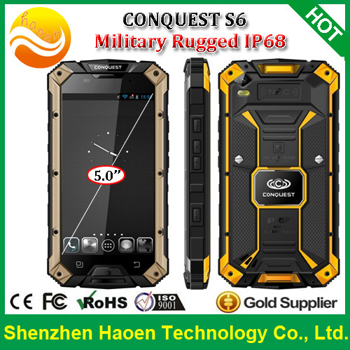 Best New 4G LTE Cheap Rugged Android Phone Conquest S6 IP68 Waterproof Dustproof Smart Phone With Quad Core OTG PTT Dual Sim(China (Mainland))