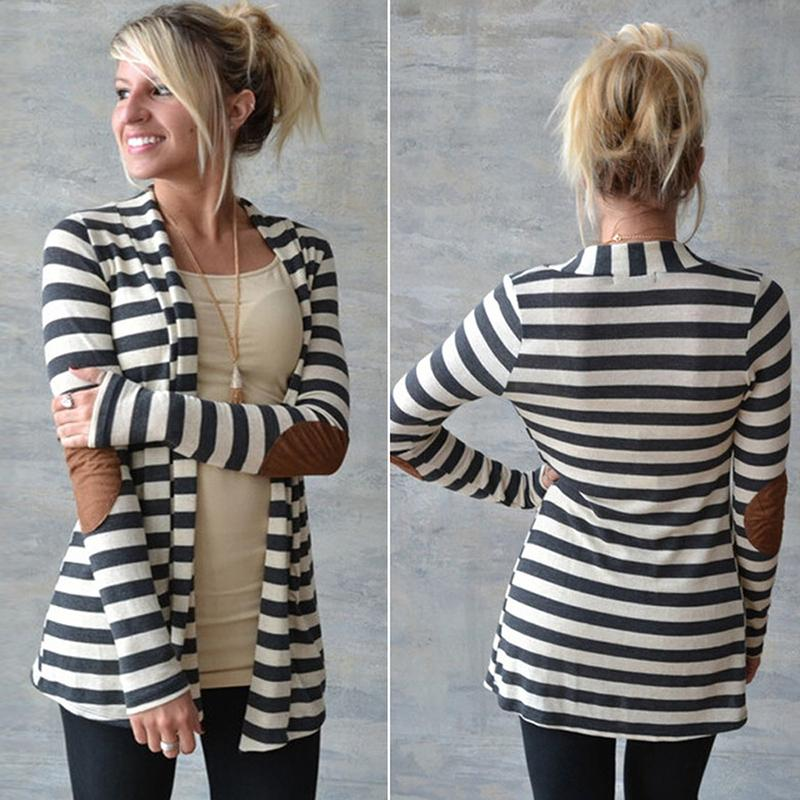 women striped  Knitted cardigan long-sleeved wide-wastied casual female cardigan plus size  women outwear cardigan coat hot