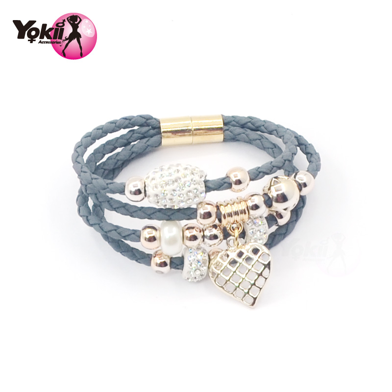 2016 Multilayer Hand Woven Bracelet Punk Style Magnetic Buckle Bracelet Rhinestone Love Heart Pendant Bracelet best Gift B01822(China (Mainland))
