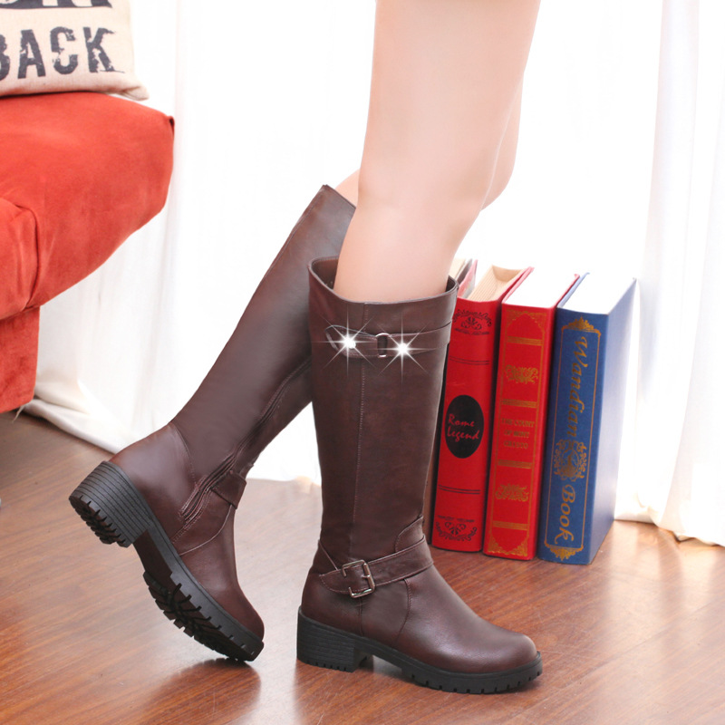 Big Size 36-41 Women Fashion Boots 2016 new autumn and winter warm boots with round Plush lady slope slip sole women shoes(China (Mainland))