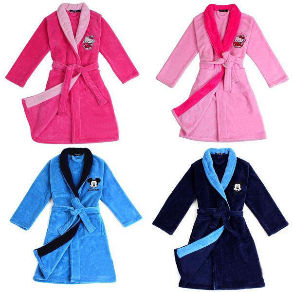 Fashion Cartoon Design Mickey/Kitty Boys&Girls Toweling Robe Children's Coral Velvet Bathrobes Big Virgin Dressing Gown Kids(China (Mainland))