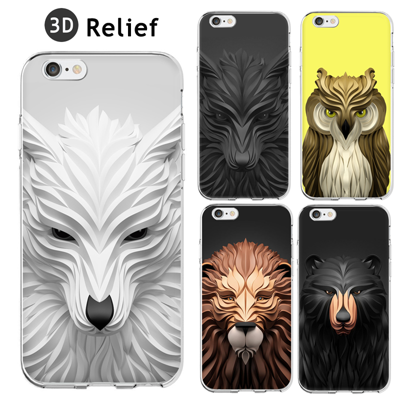 Cool 3D Relief Painting Geometric Graphic Animal Pattern Coque Fundas Hard Clear Case For iPhone 5 5S 6 6S 6Plus SE(China (Mainland))