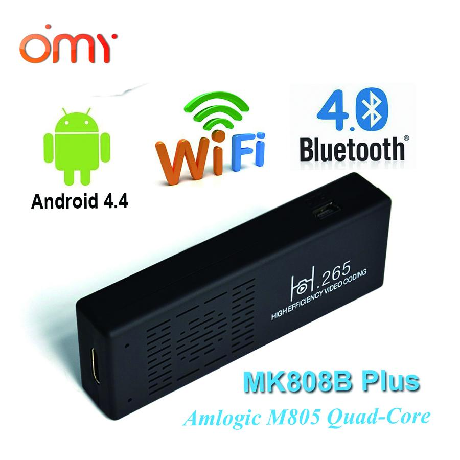 high quality MK808 MK808BPlus HDMI Stick TV Quad Core Amlogic M805 1 GB + 8 GB Android mini pc Wifi Bluetooth Miracast tv stick(China (Mainland))