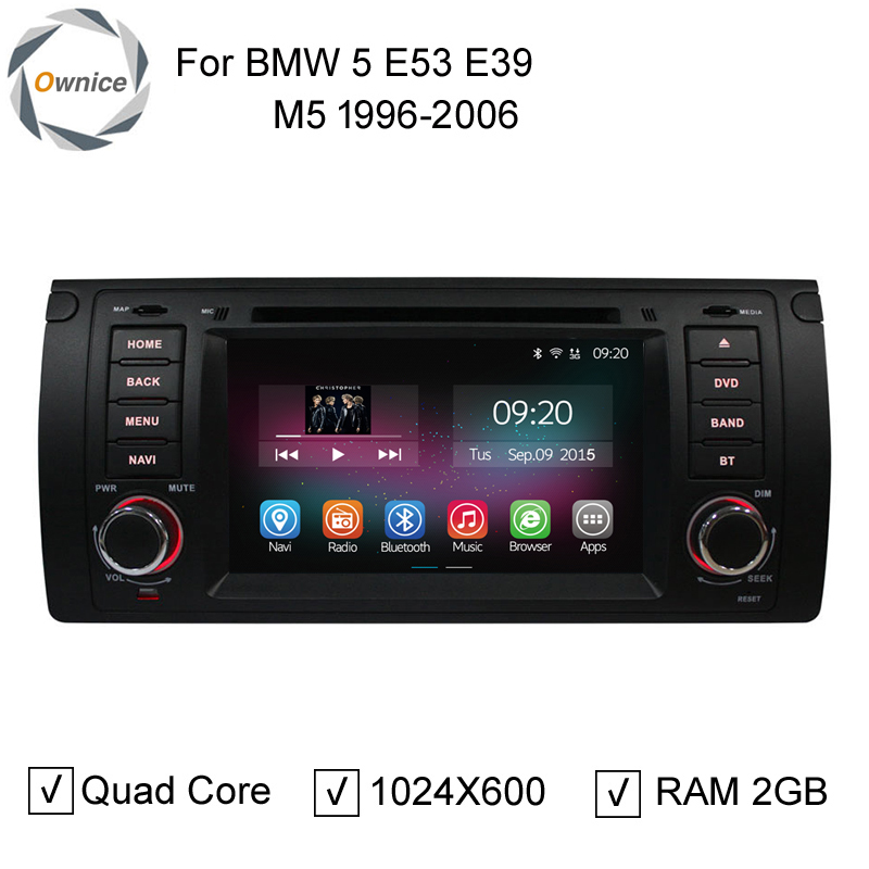 "Ownice DH 7"" 2 Din 1024x600 RAM 2GB Quad Core Android 4.4 Stereo Radio Car DVD GPS For BMW 5 Series E53 E39 M5 1996-2004(China (Mainland))"