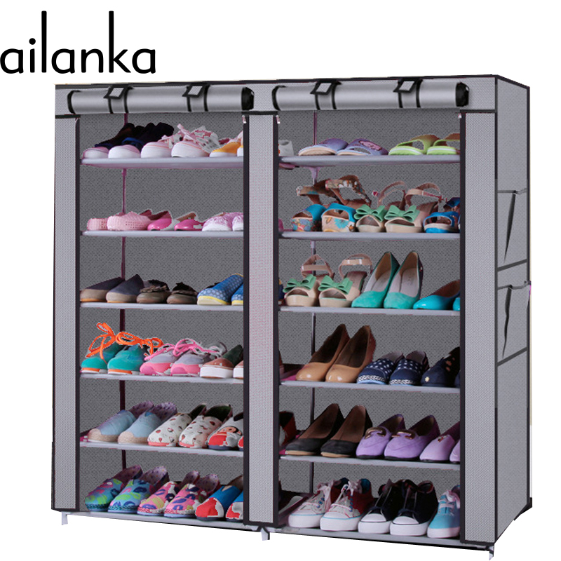 12 Grids 5 Colors 13 mm Steel Pipe Non-woven Shoe Cabinet With Curtain For Living Room Or Doorway H205(China (Mainland))
