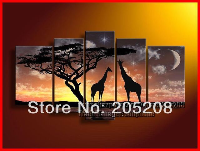 Framed 5 Panel Huge Giraffe Home Canvas Art African Painting Wall Decor Pictures XD00189