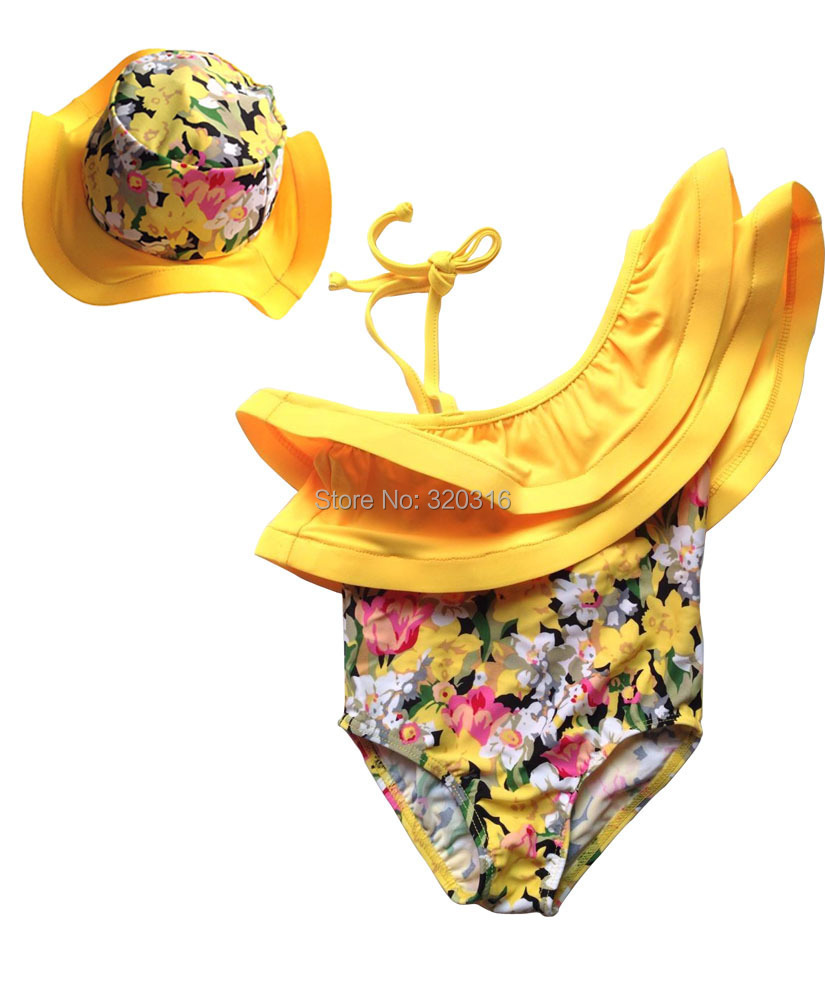 Girls Swimwear Girls Siamese strap yellow floral skirt new models spa services KYZ23A09(China (Mainland))