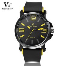 V6 Fashion Sport Mens Watches Top Brand Luxury Watch Men Black Waterproof Watches Simple Style Watch relogios masculino