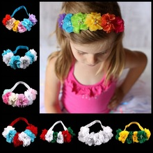 Retail Baby Flower Headband six chiffon Flower with drill Headwear infant elastic hairband headwear girls hair accessories(China (Mainland))
