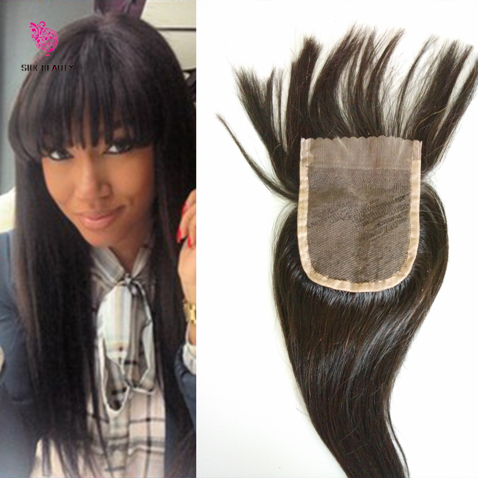7a human hair lace closure with bangs virgin brazilian