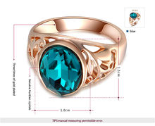 ROXI Christams Gift Classic Genuine Austrian Crystals Sample Sales Rose Gold Plated Blue Stone Ring Jewelry