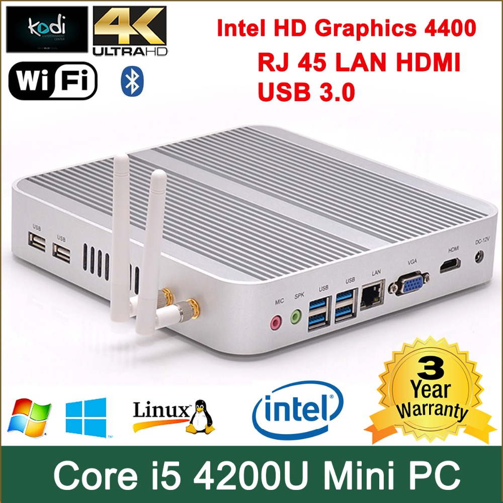 Best Mini PC Host Fanless Computer with Intel Core i5 Processor 8G RAM 128G SSD(China (Mainland))