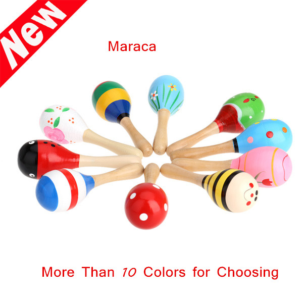 Kids Children Toy Musical Instrument Maraca Wooden Percussion Instrument Musical Toy for KTV Party New Arrival(China (Mainland))