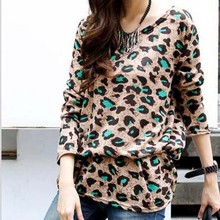Autumn New Gestantes Blusa Plus Size Clothings 2015 Loose Fold Maternity Clothes Round Neck Maternity Tops Leopard Ropa Premama(China (Mainland))