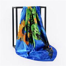 2018 новый роскошный бренд Полосатый клетчатый цветочный женский саржевый шелковый шарф квадратные шарфы головная повязка с принтом хиджаб(China)