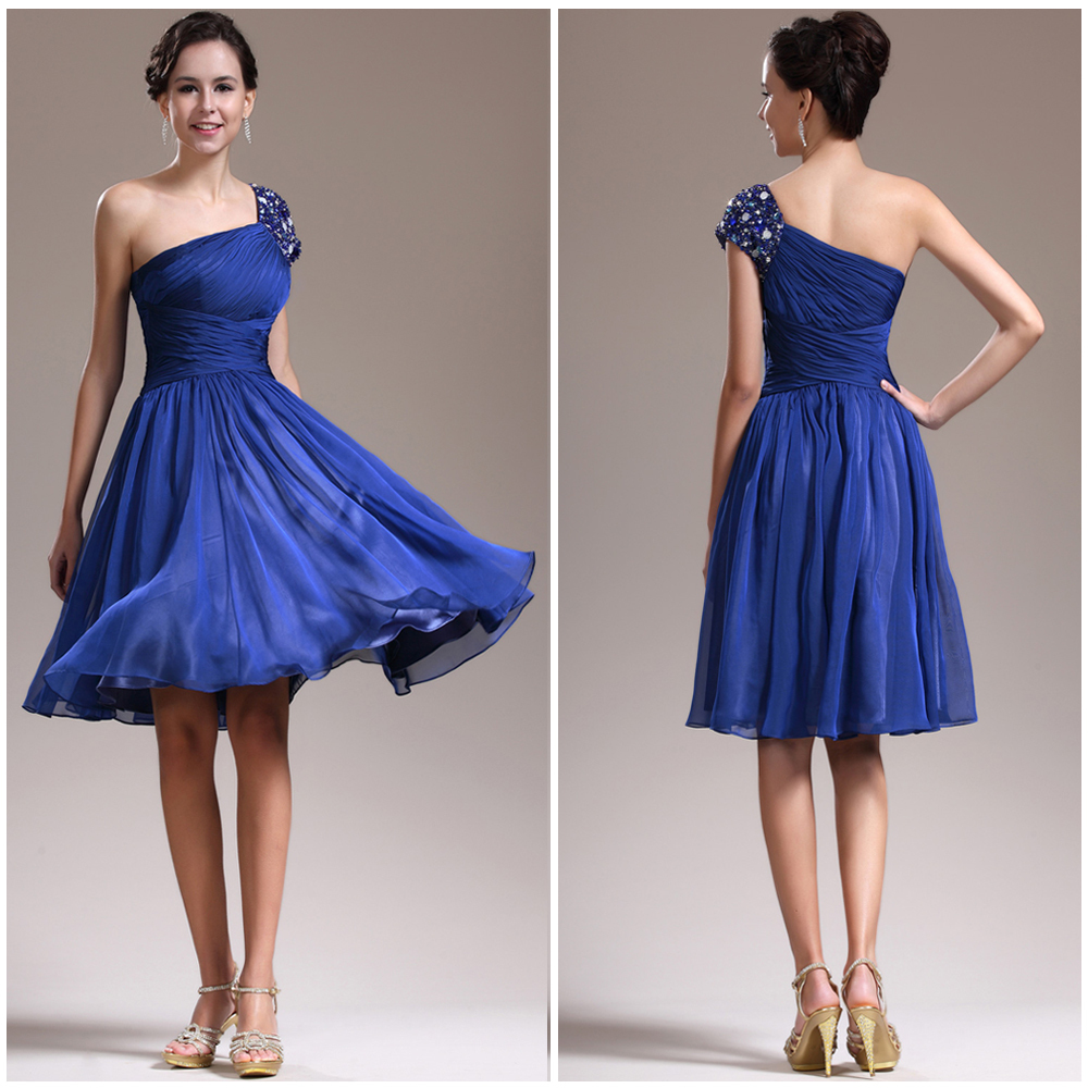 Whoesale one shoulder with beade strap a line knee length for Royal blue short wedding dresses