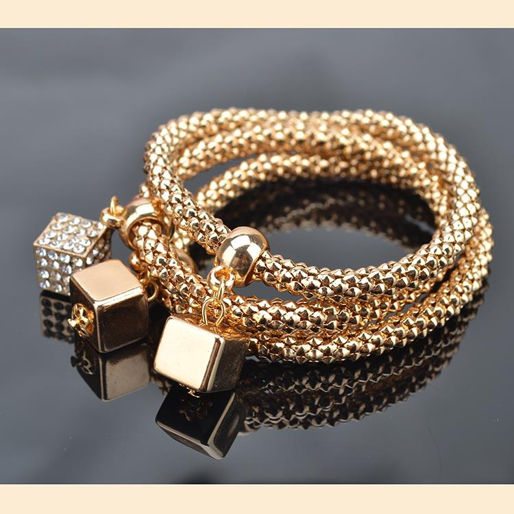 TS1340 Fashion Gold Plated Crystal Chain Bracelets & Bangles Ethnic Round Charm Bracelet Pendants - good jewelry store