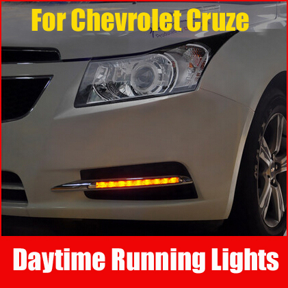 New 9 Bright LED Car DRL / Daytime Running Lights With Yellow Turning Signal Light For Chevrolet Cruze Low Match,Fog Light(China (Mainland))