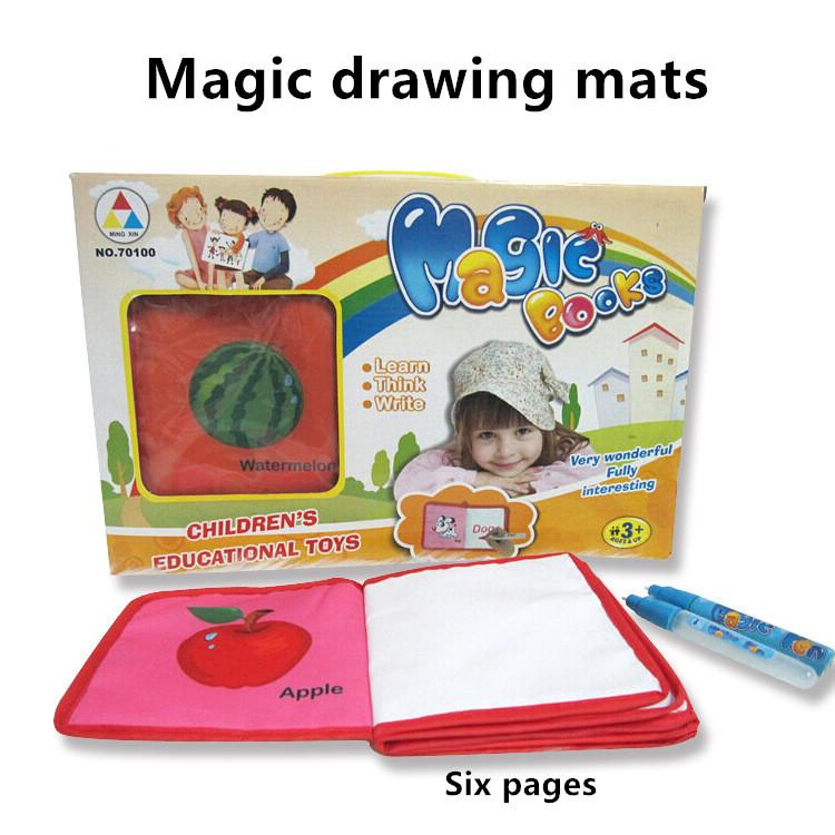 Free Shipping Aqua Doodle Children's Drawing Board Mats Toys 1 Book+ 2 Water Drawing Pen(China (Mainland))