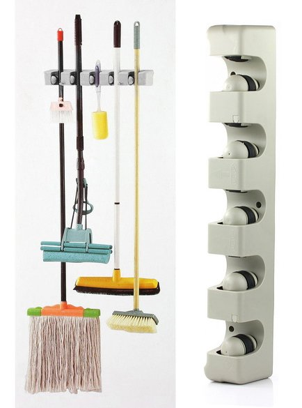 $10 off per $100 order+ Plastic Wall Mounted 5 Position Kitchen Storage Mop Broom Organizer Holder Tool(China (Mainland))