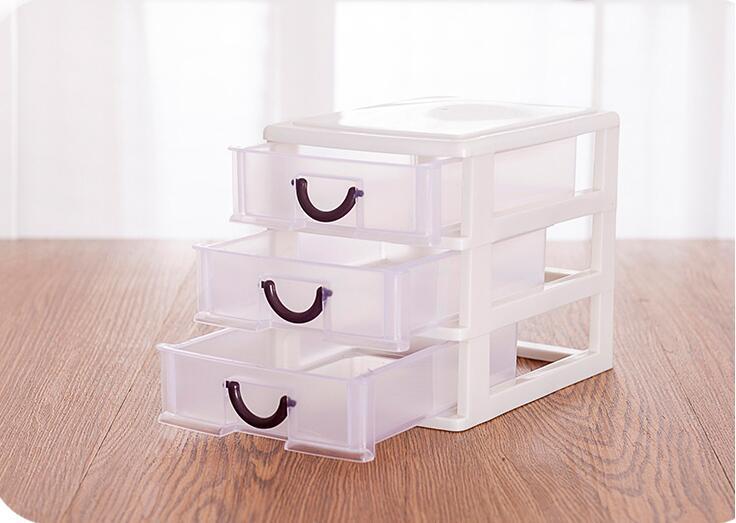 3 Layer plastic Drawer Desktop Storage cabinet finishing plastic cosmetic box debris storage box office(China (Mainland))