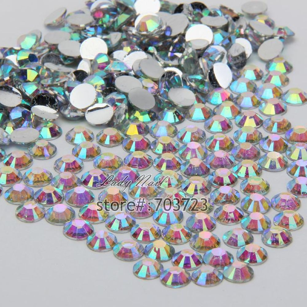 1000 pcs 3mm ss12 AB Colorful Crystal Resin Round Rhinestone Flatback Rhinestones 14 Facets DIY Nail