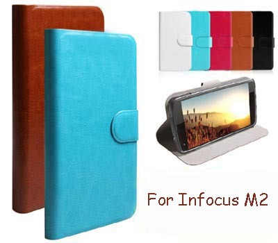 Hot Sale PU Leather Wallet Flip Cell Phones Case For Infocus M2 (4.2 inch) Cover (Gift Touch Pen)(China (Mainland))