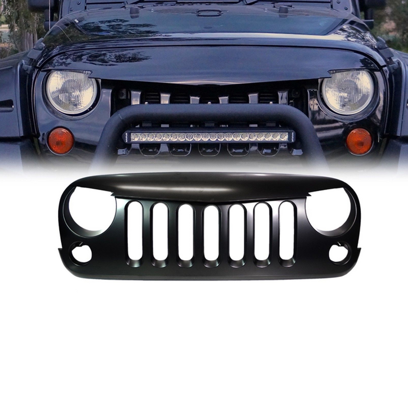 Car Innovative Accessories Car-Styling Black ABS Front Racing Grille For Jeep Wrangler JK 2007~2014 High Quality Fast Shipping(China (Mainland))