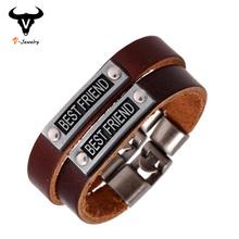 Genuine Leather Best Friends Bracelet Handmade Cowhide Strap Friendship Bracelet Vintage Jewelry Charm Letter Bracelet For Lover(China (Mainland))