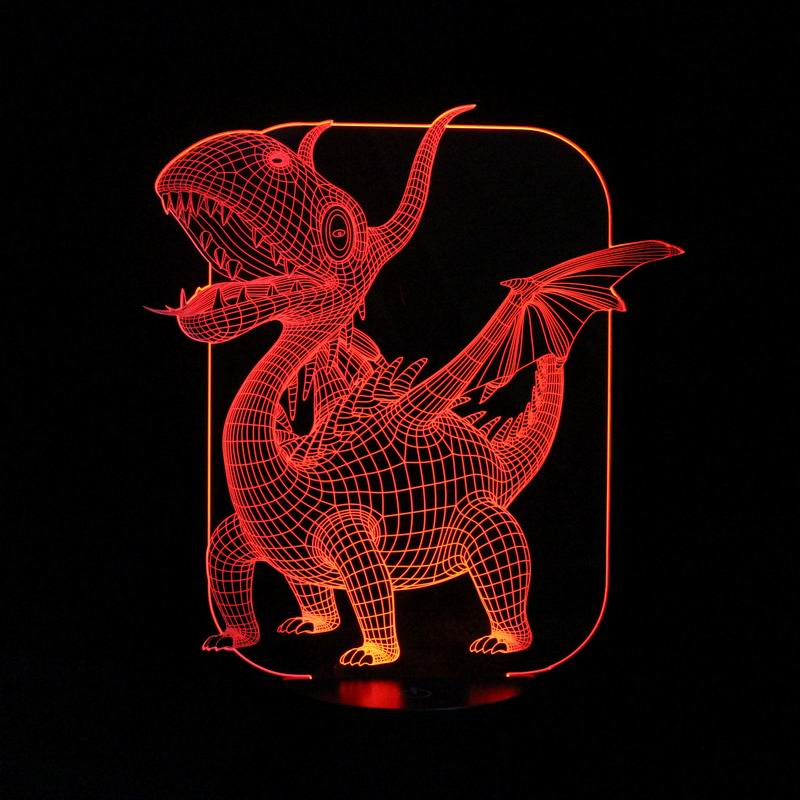 Magical 3d Illusion Led Table Lamp With Pterosaurs Image