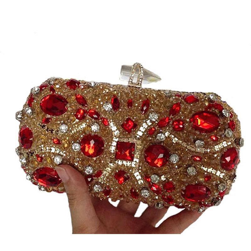New Luxury Diamond Clutches Evening Bags Wedding Party Banquet Women Handbags Bridal Rhinestones Bling Queen Shoulder bags Li282(China (Mainland))