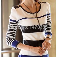 New Womens Striped Long sleeve Bottoming Slim Pullover Sweater  Tops(China (Mainland))