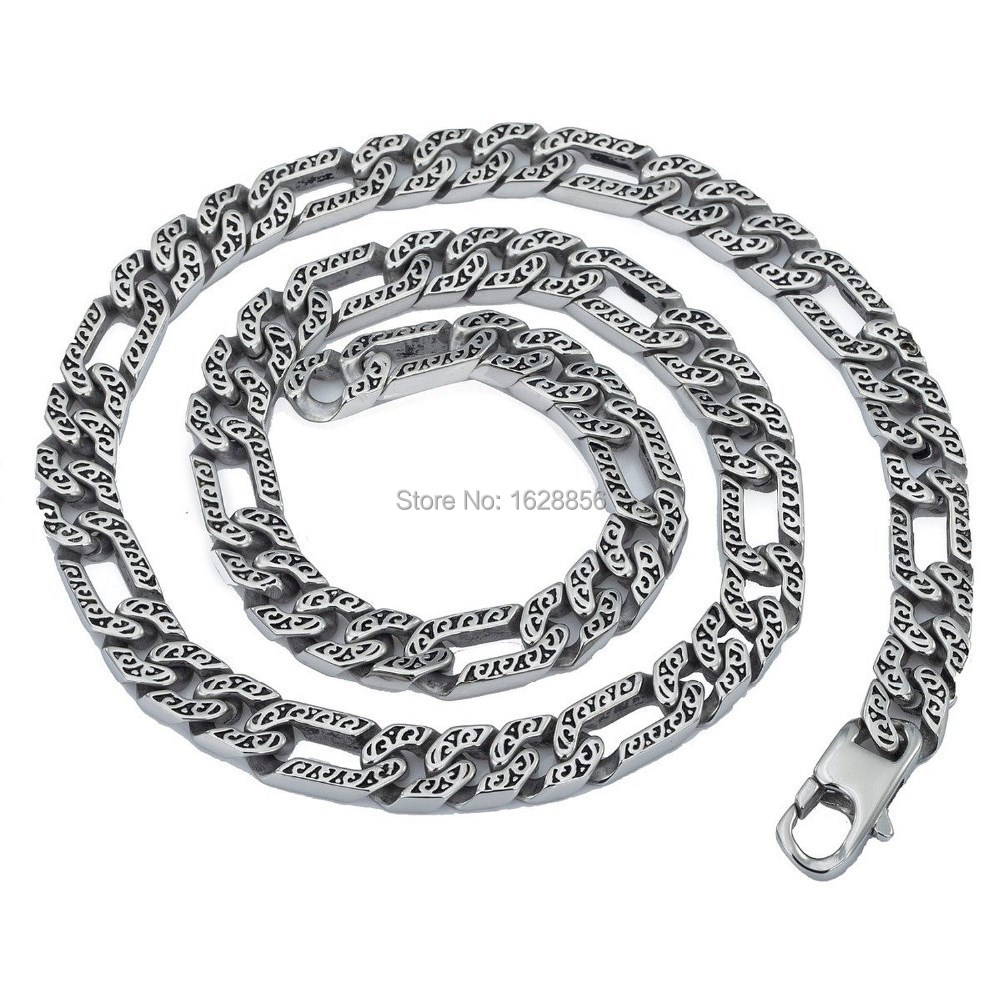 Promotional Gift Men's Heavy Stainless Steel Silvery Tone Animal Skin Link 316L Necklace Chain Length 22 inches - Fine jewelry Chinese shop store