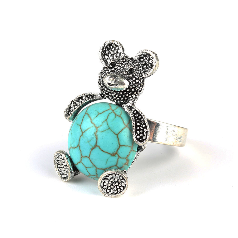 Parabola Round Shaped Created Turquoises Lovely Bear Rings Silver Color Aneis for Women Cheap Fashion Jewelry Feminino ZSR0007(China (Mainland))
