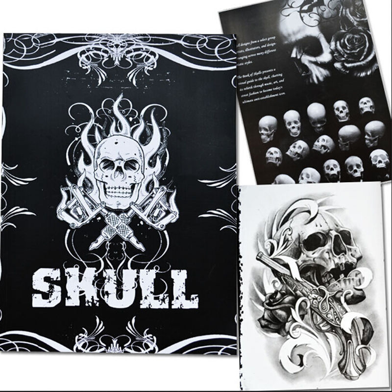 Selected Skull Tattoo Books Design A4 Sketch Flash Book Tattoo Art Supplies 76 Pages Hot Selling(China (Mainland))