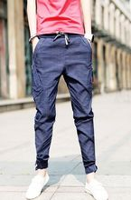 2016 Time-limited New Arrival Cotton Skinny Solid Colored Button Mid-rise Male Jeans Trousers Fashion Slim Casual