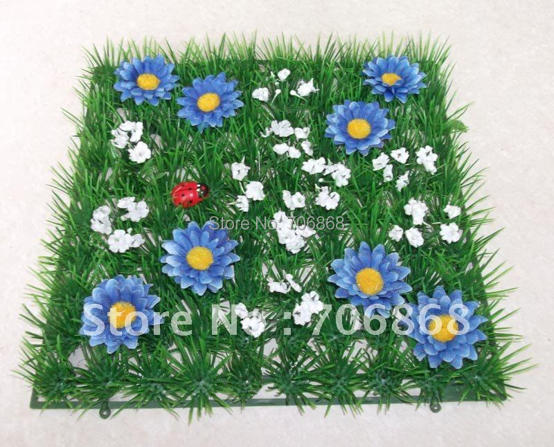 Blue daisy flower Free shipping 25*25 artificial plastic boxwood grass mat home and wedding decoration 2(China (Mainland))