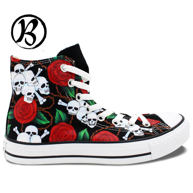 2016 New Skulls Roses Painted Shoes High Top Canvas Shoes Boys Girls Mens Womens Custom Birthday Gifts Hand Painted Art(China (Mainland))