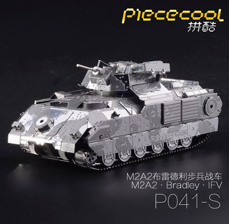 M2A2 Bradley IFV Tank model Gold silver color 3D DIY laser cutting model educational diy toys Jigsaw Puzzle gifts DIY model fun(China (Mainland))