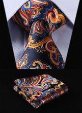 "TF451V8 Orange Navy Blue Floral 3.4"" 100%Silk Wedding Jacquard Woven Men Tie Necktie Pocket Square Handkerchief Set Suit(China (Mainland))"