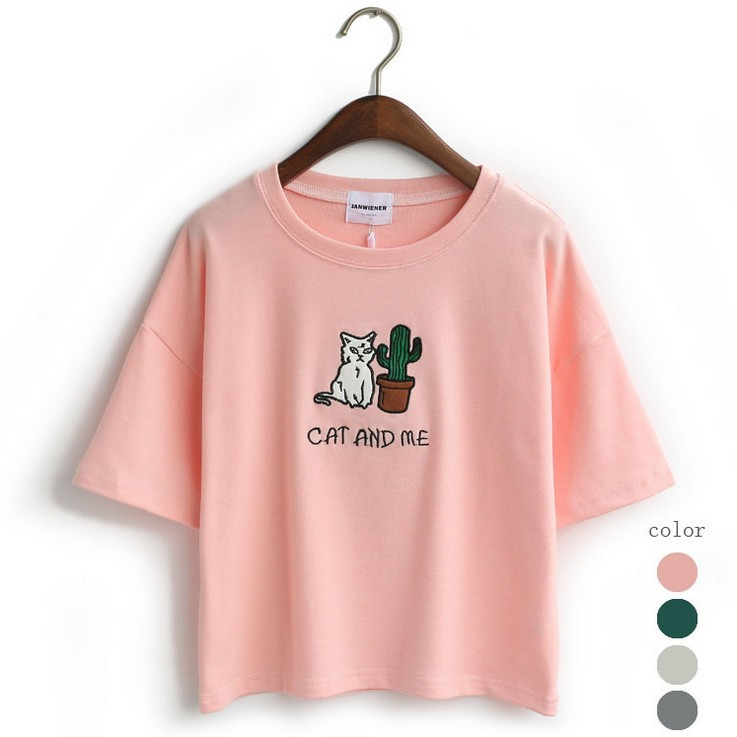 Magic embroidery cat cactus casual t shirt for for How to embroider t shirts