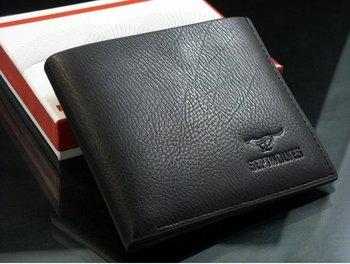 Free shipping+50pcs/lot+2012 fashion Mens Wallet+ Men Purse + Men rfid card leather wallet+ Genuine leather+ wholesale W-B14
