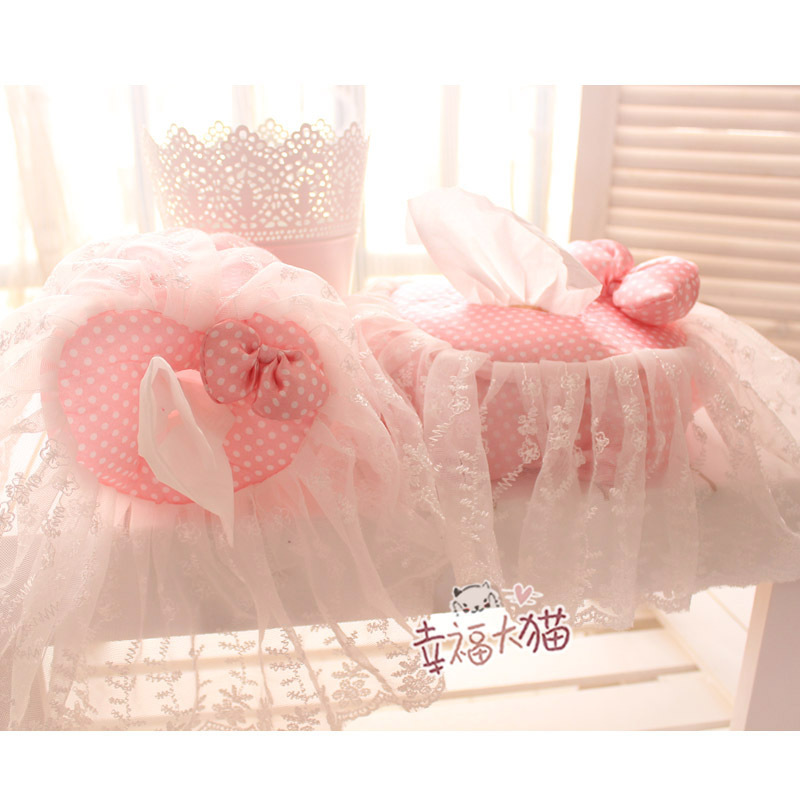 Cute pink dots love tissue paper cover Pastoral lace cloth towel sets tissue box cover, tissue pumping tray(China (Mainland))