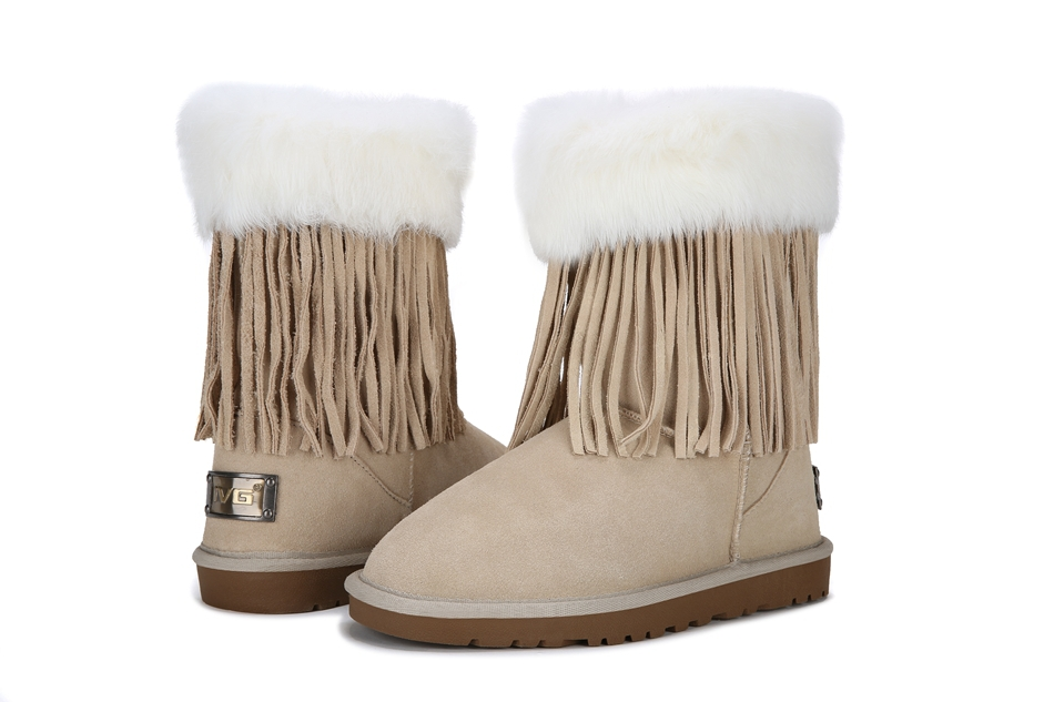 2015winter snow boots to help warm the artificial plush angora Tide brand women boots tendon at the end snow boots fringed boots(China (Mainland))
