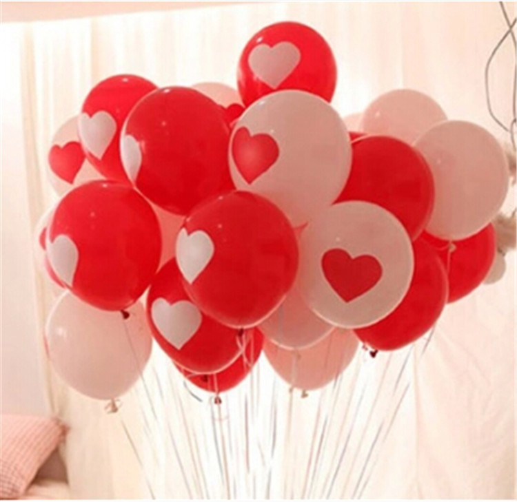 100PCS Lovely Round Heart Ballons Valentines Red Balloons White pearl Latex Ballons Wedding Engagement Propose Marriage Balloons(China (Mainland))