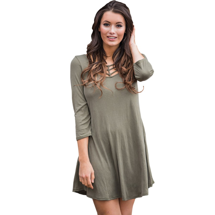 Best Cage Front 3/4 Sleeve Blouse Dress Autumn Hollow Cut Mini Ladies Pocket Casual Loose T Shirt Tunic Dresses for Women A22887(China (Mainland))