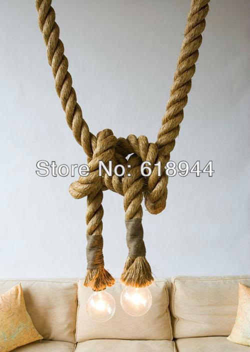 Buy free shipping american style hemp for Diy rustic pendant light