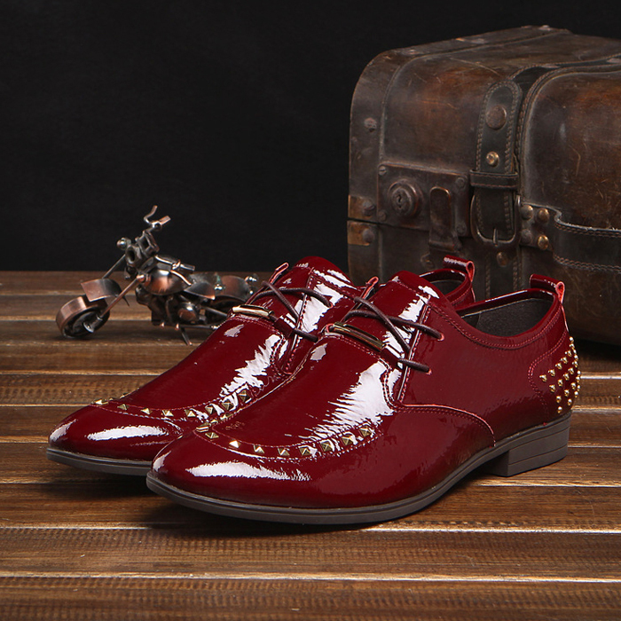 2015 New Arrival Fashion Genuine Leather Patent Rivets Formal Brand Man Oxfords Mens Derby Wedding Round Toe Shoes GLM533<br><br>Aliexpress