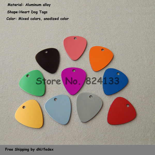 New Arrivals!!! Anodized Aluminum Guitar Heart Pet Tags,Pet Dog Id Tags,Mixed Color,1000pcs/lot Cheap Wholesale,Free Shipping(China (Mainland))
