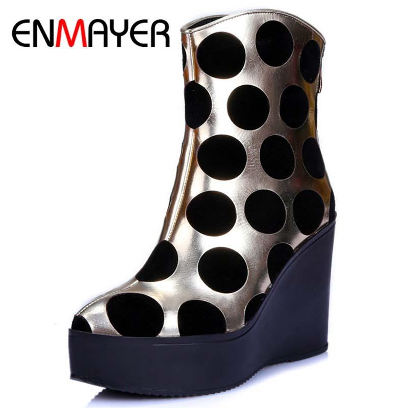 Фотография ENMAYER Genuine Leather Women Boots Autumn Winter Wedges Shoes Zip Fashion Ankle Boots Mixed Colors Platform Shoes Boots  34-39